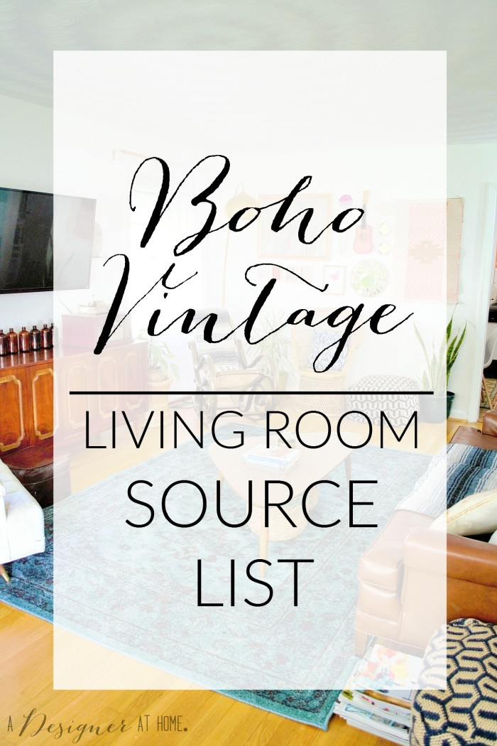 A Boho Vintage living room source list