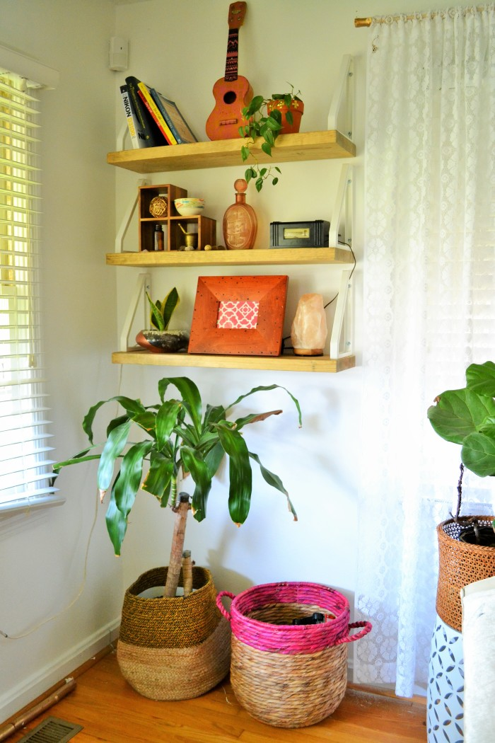 DIY shelves full of eclectic treasures