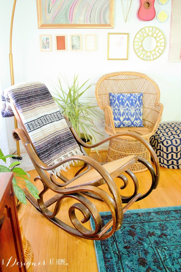 bentwood rocker paired with mexican blanket serape. love the contrast!