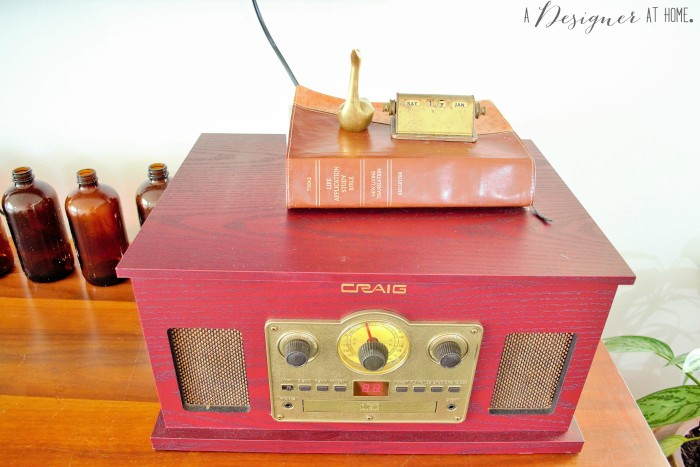 a retro inspired style record multi music player and brass pieces, it's love!