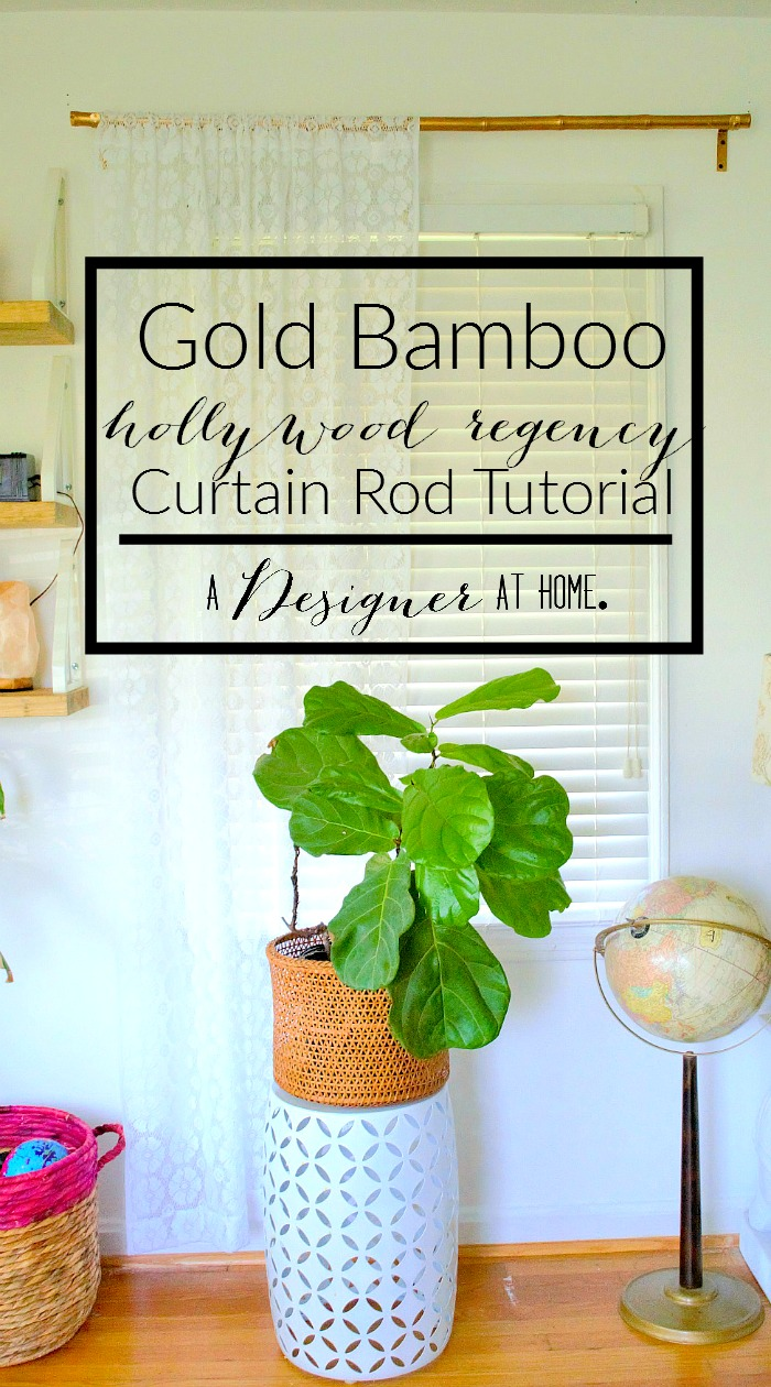 Gold Bamboo hollywood regency Curtain Rod Tutorial, because gilded bamboo is pretty but expensive!
