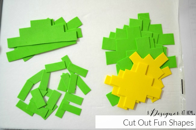 cut out shapes from dollar store foam sheets