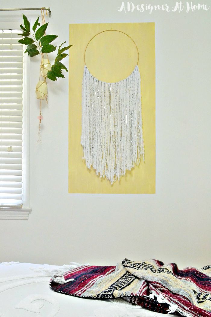 Zwall-hangin-framed-by-artistic-painted-rectangle-frame-painted-frame-boho-moroccan-wedding-blanket-inspired-wall-hanging-hanging-cases-tree-branch-clippings-bohemian-boho-decor-diy