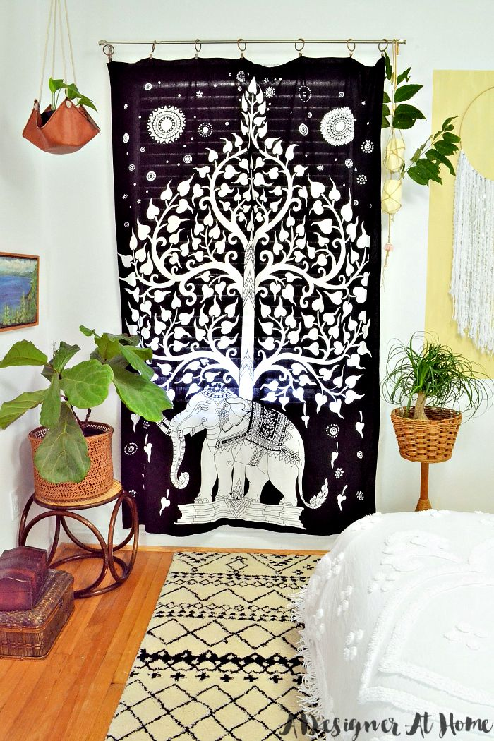boho-bedroom-elephant-tapestry-houseplants-bohemian-patterns-painting-wall-hanging
