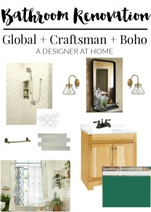 Global, Craftsman, Boho inspired bathroom remodel design