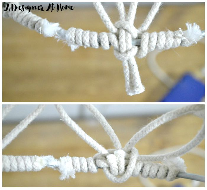 snip the center two pieces of rope and fold over and glue onto back