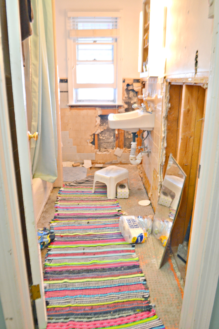 The before - A Global Craftsman Boho Bathroom remodel