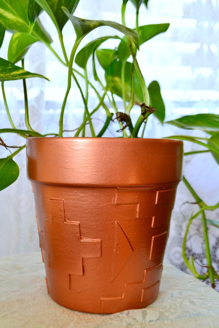 Bohemian Style- southwestern tribal inspired dimensional copper planter pot tutorial