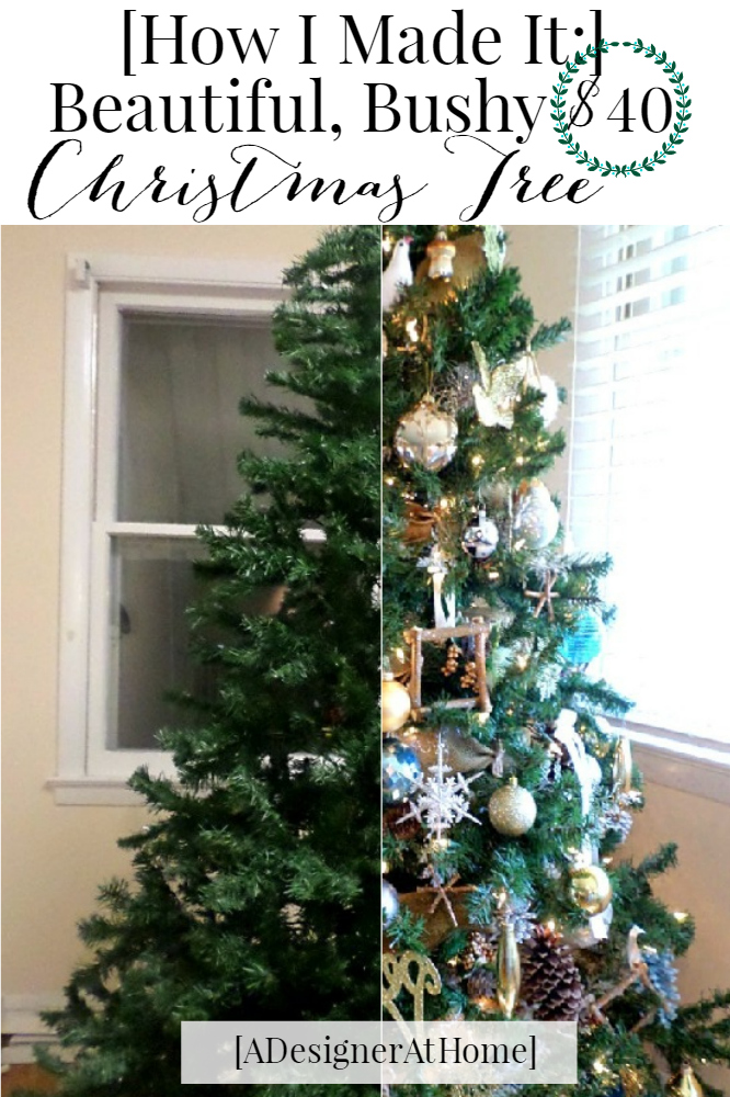 how I made my $40 cheap christmas tree look thicker, bushier and beautiful - budget savvy christmas decorating