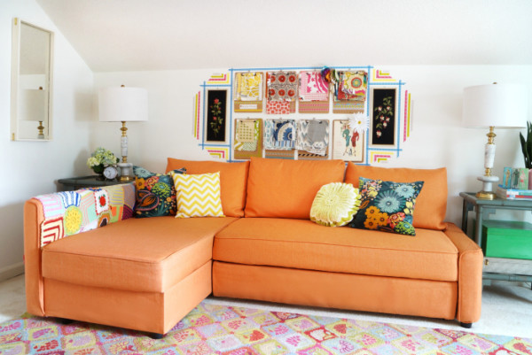 maggie-overby-studios-orange-sofa-sewing-room