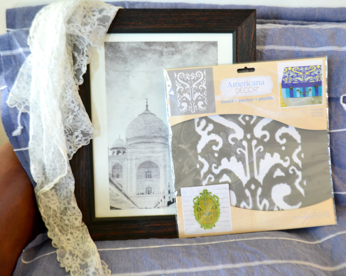 Taj Mahal print in from Minted. the ikat stencil is from DecoART, the fram is a clearance from from Michaels craft store and the lace is thrifted.