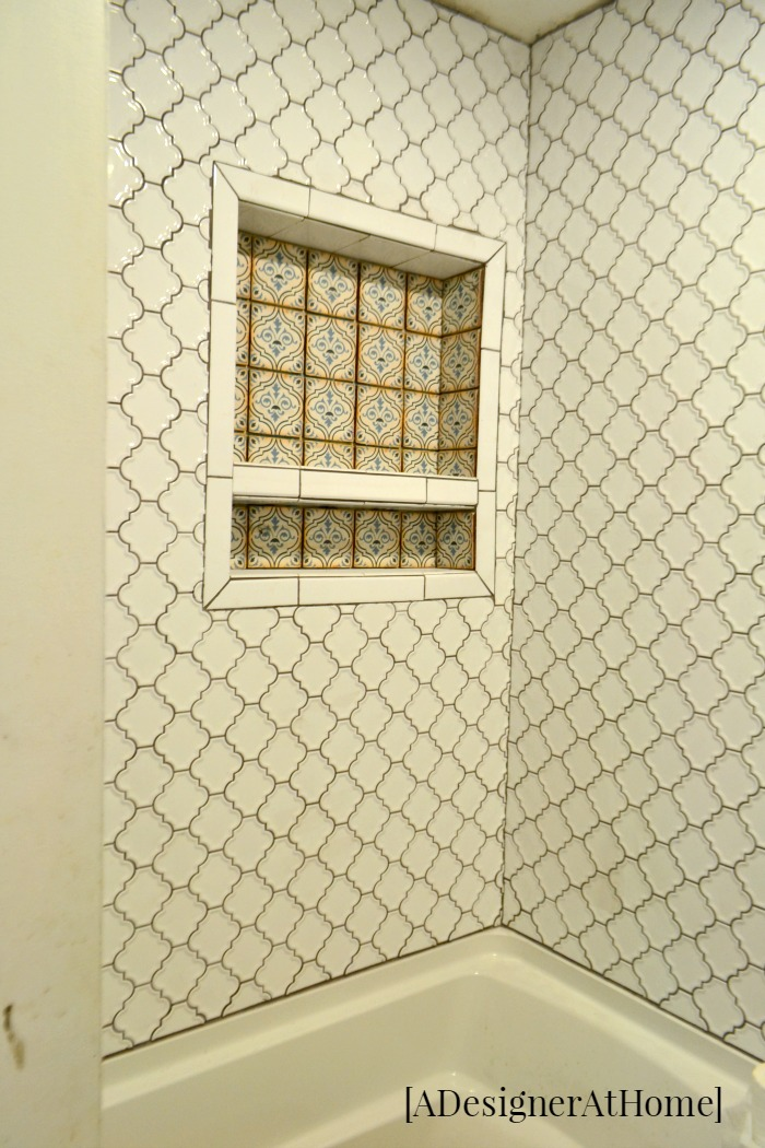 A Boho Globally Inspired bathroom renovation using patterned moroccan inspired tiles