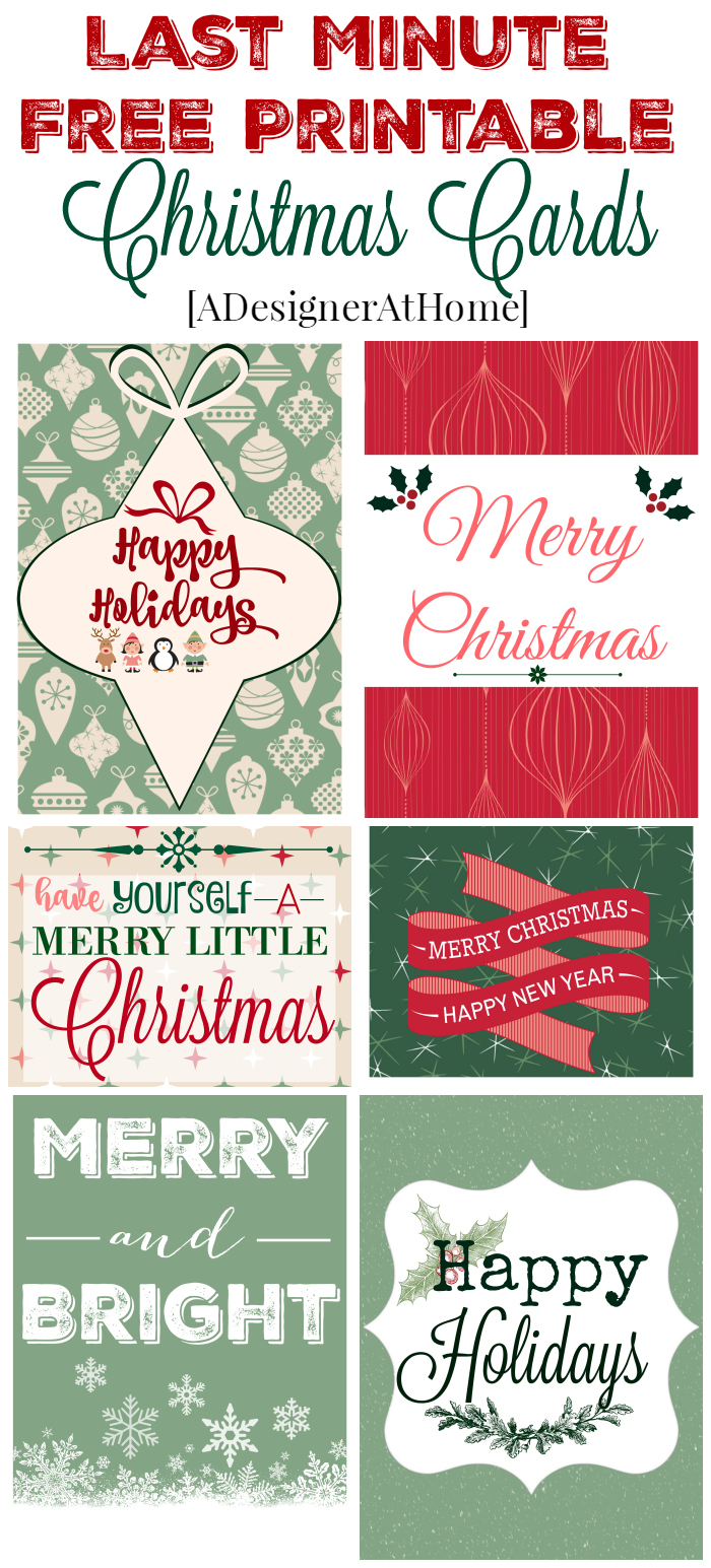 Last Minute Free Printable Christmas Card Downloads