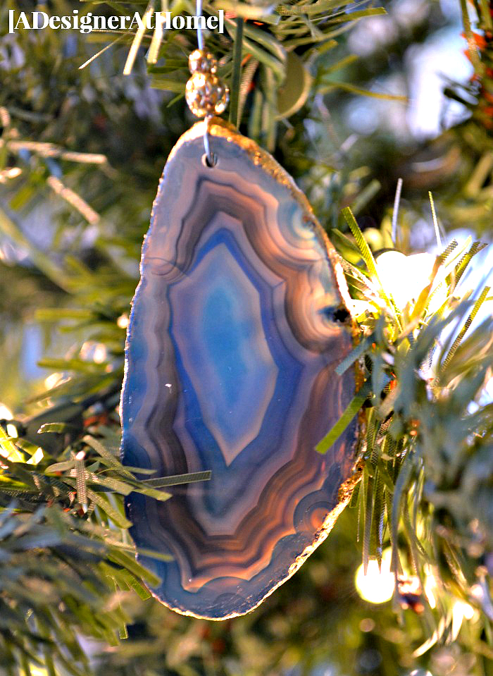 how to make a dark blue agate slice ornament with gold leaf edge