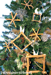 twig and branch ornaments created with backyard waste and a couple craft stash supplies- rustic and cute!