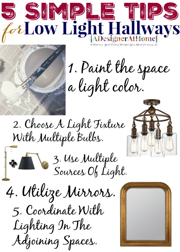 5 simple tips for low light halways, click through to see pairings, suggestions and more tips!