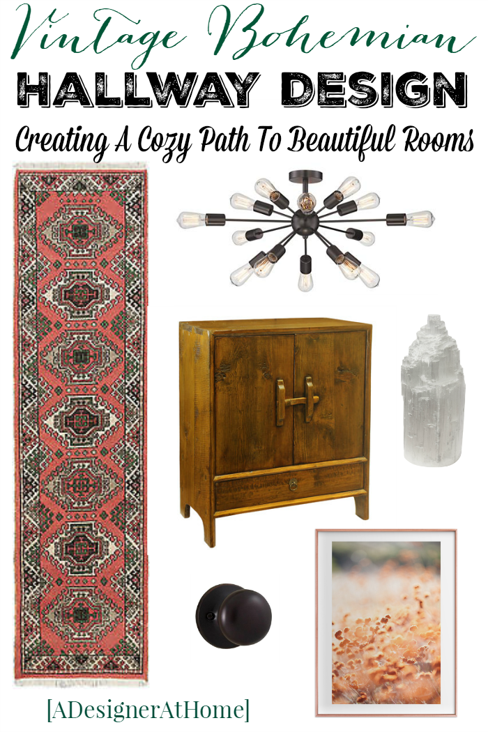Hallway Decorating: Vintage Bohemian Hallway Design- vintage and rustic elements create a cozy path to other rooms of the house