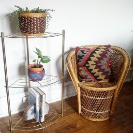 Oh so boho brass shelf via @shopmidcenturymodest