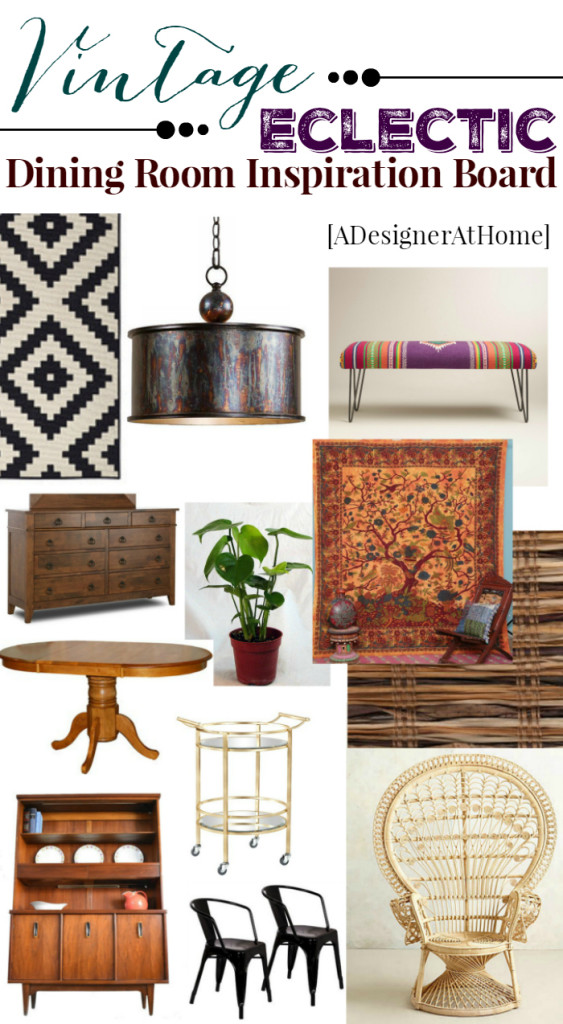 vintage eclectic dining room mood board