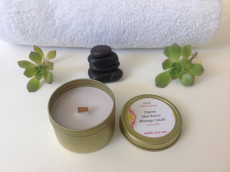 SILK Non-Toxic Organic Fair Trade Shea Butter and Non GMO Soy Wax Hand Poured Massage Candle with Wooden Wick 4oz $9.00