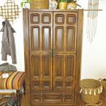 thrifted ornate cabinet with cool hardware