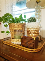 Brass and Wood Tones End Table Styling