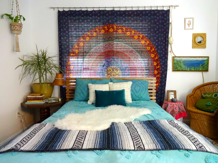 bohemian alternative nightstands bedding and art