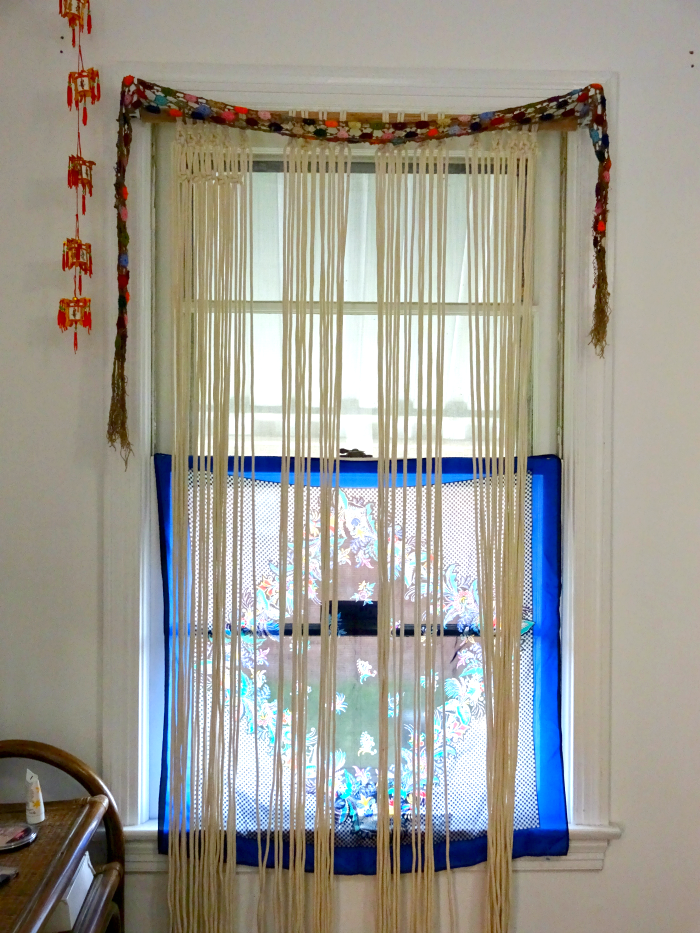 boho scarves and macrame work in progress window treatment