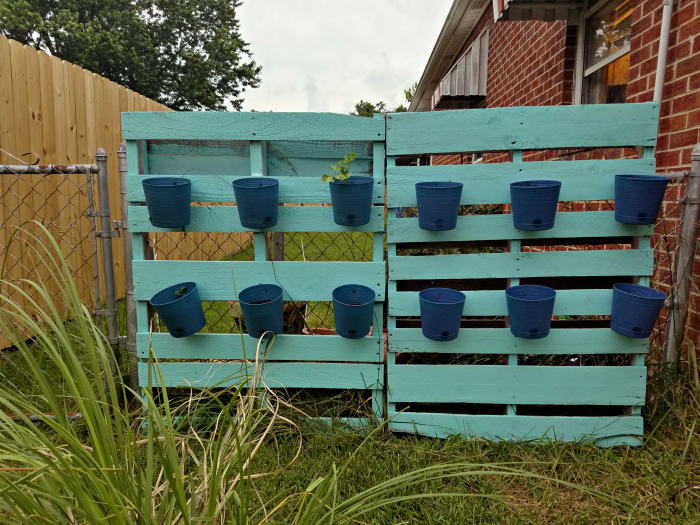 pallet fence with planter pots