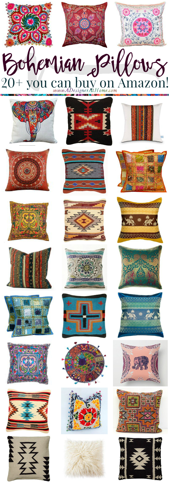 20+ bohemian style pillows you can buy on Amason
