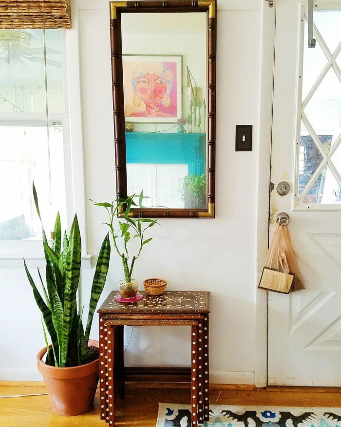 drexel bamboo wood mirror with gold corners