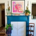 boho blue fireplace with pink and purple woman