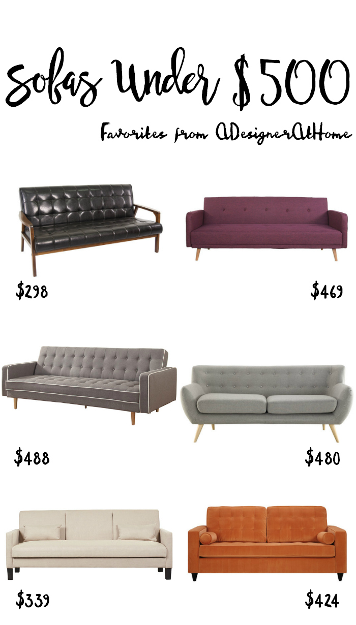 Favorite Sofas Under $500 (Prices Fluctuate Based On Sales)