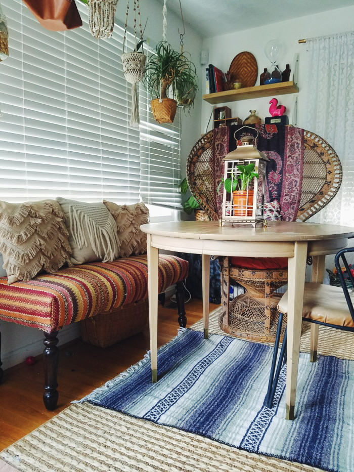 Fall cozy bohemian dining room nook
