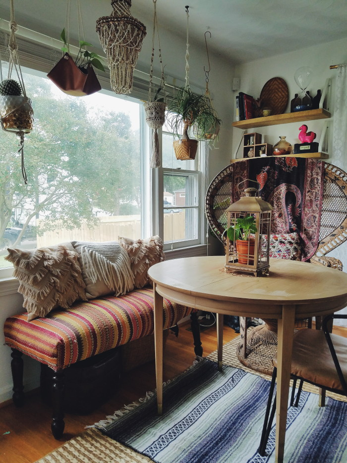 eclectic bohemian divided living and dining space