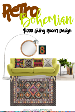 Retro Inspired Bohemian $1000 Living Room Design