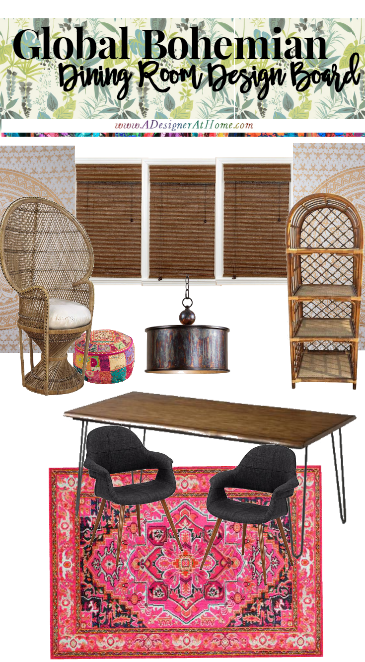 Global Bohemian Dining Room Design Board