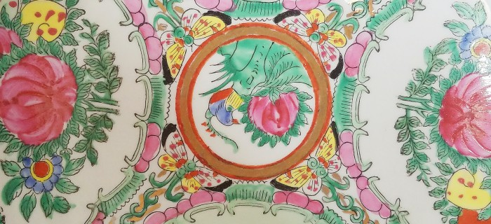 Green and pink oriental bowl hand painted design: inspiration for a boho dining room