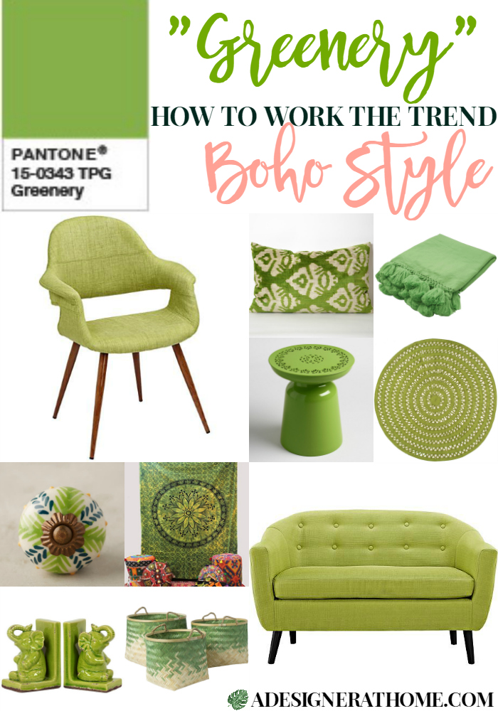Pantone's 2017 Color Of The Year: Greenery in home decor Boho Style