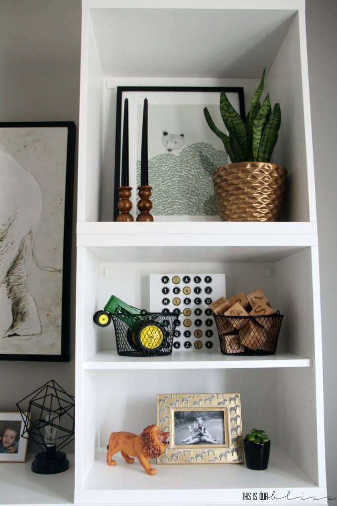 Bold-modern-playroom-reveal-shelf-styling-with-plants-and-wood-accents-This-is-our-Bliss
