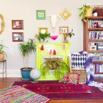bright-colorful-thrifty-chic-boho-living-room-painted-fireplace