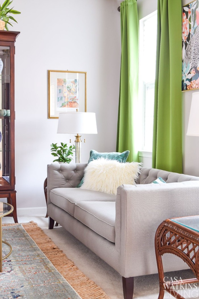 eclectic-style-living-room-green-curtains-new-sofa