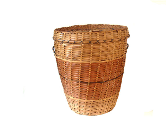 lidded rattan basket etsy hamper