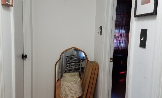 Mirror was taken from another room, lumber is for a DIY console table to add weight and warmth to the end of the hallway.