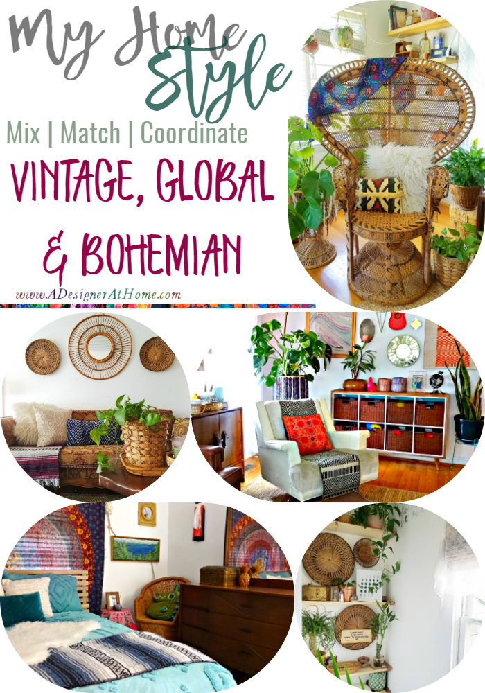 Mix Match Coordinate: vintage, global bohemian home style | ADesignerAtHome