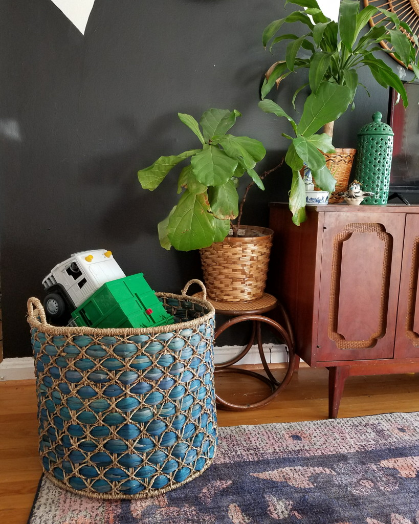 Giant Basket = Giant toy storage for all the indoor play during cooler months like Fall and Winter