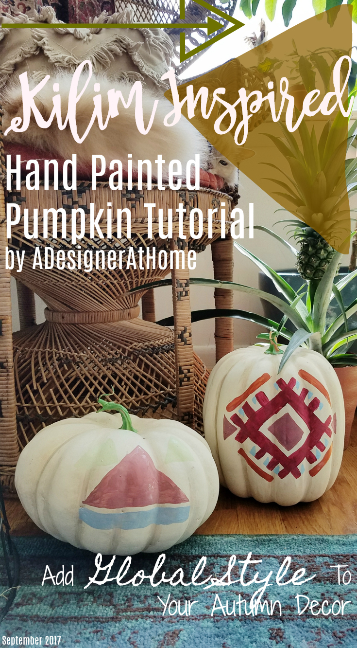 Kilim Inspired Hand Painted Pumpkin Tutorial by ADesignerAtHome Global Style Autumn Decor