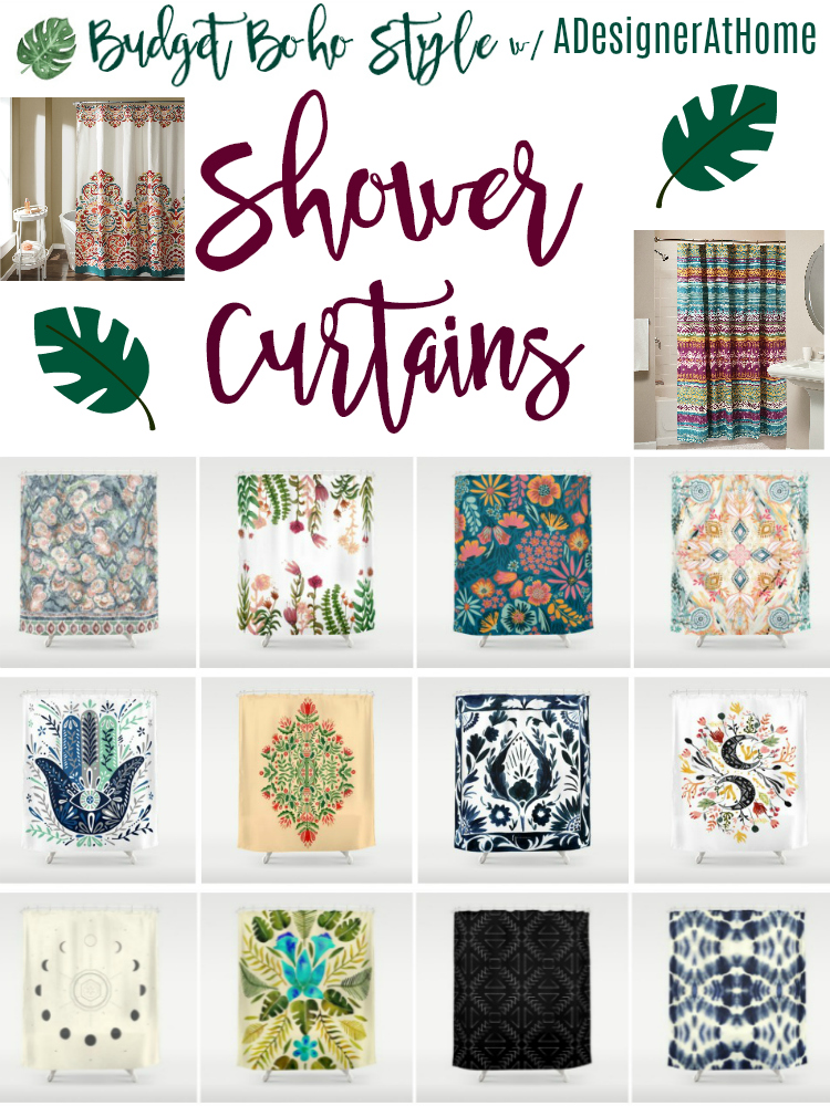 budget boho home style: bohemian shower curtains