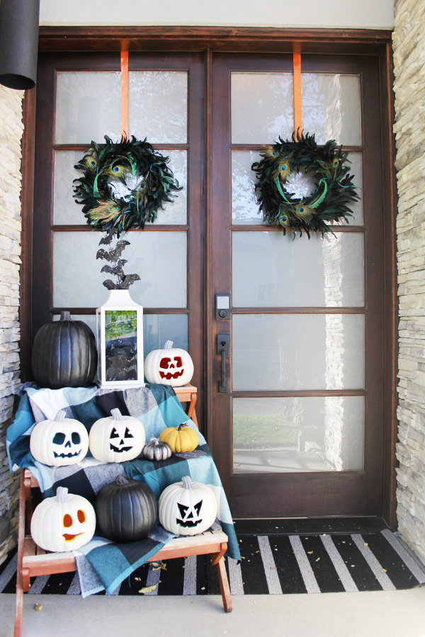 Blue i Style - Front Porch Halloween Decorations Wreath JackOLanterns DIY halloween decorations