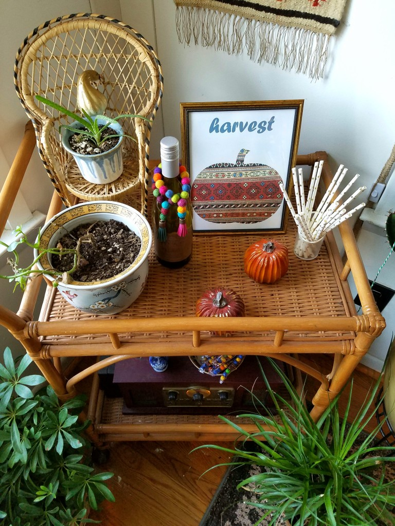 Plant-filled-boho-eclectic-autumn-bar-cart
